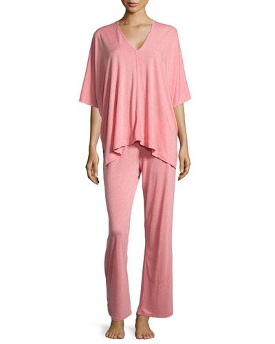 Shangri La Two-Piece Tunic Pajama Set, Red-Orange