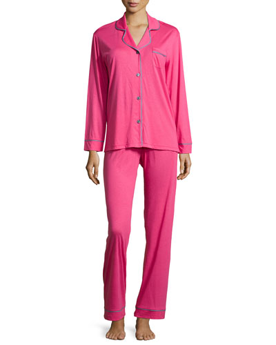 Bella Piped Solid Pajamas, Garnet/Black