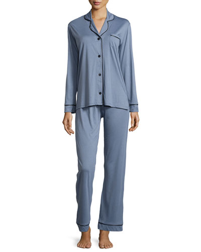 Bella Long-Sleeve Two-Piece Pajama Set, Gray/Black