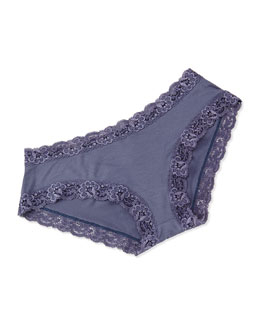 Top Drawer Lace-Trimmed Panty, Blue Granite