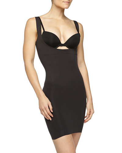 Shape My Day Seamless Open-Bust Shapewear Slip, Black