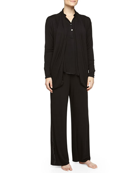 Fleur't Lounge with Me Silk-Trimmed Long Wrap, Black