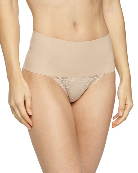 Spanx Undie-Tectable® High-Waist Lace Thong, Soft Nude