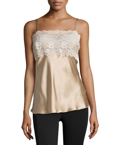 Rose Parfait Lace-Top Camisole, Nude
