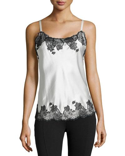 Lolita Lace Trim Camisole, White/Black
