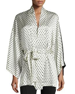Polka-Dot Silk Short Robe, Ivory