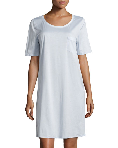 Hanro Cotton Deluxe Short-Sleeve Big Sleepshirt, Blue Glow