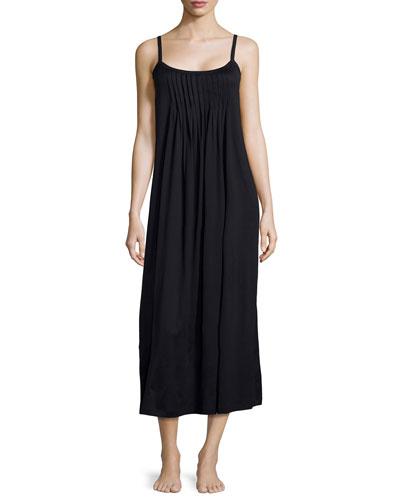 Juliet Pleated Babydoll Gown, Black