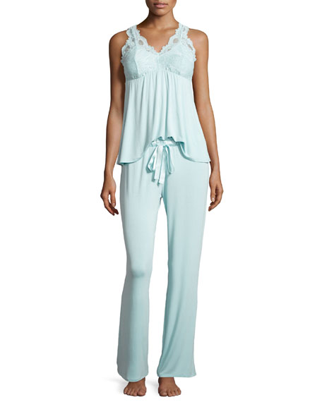 Belle Epoque Lace-Inset Pajama Set, Powder Blue