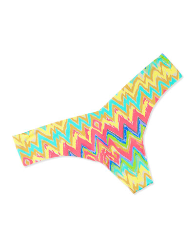 Eye Candy Zigzag-Print Thong, Yellow