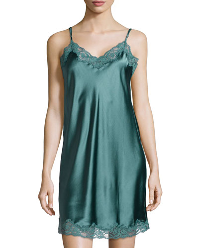 Ruby Snoozing Lace-Trim Chemise, Teal