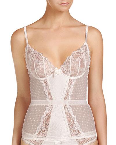 Mia Loving Lace-Trim Corset, Floral White