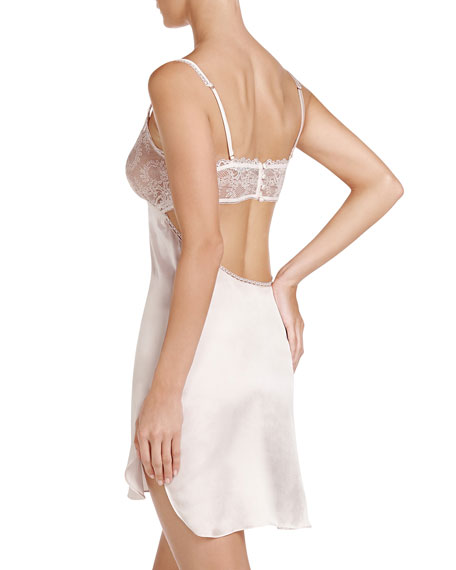 Mia Loving Lace-Trim Chemise, Floral White