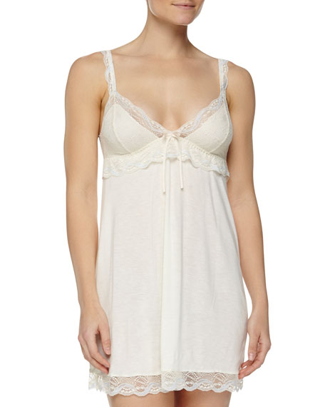Eberjey Something Blue Lace-Trimmed Chemise, Ivory