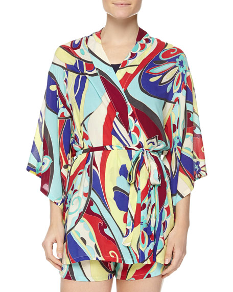 Josie Mosaic Floral-Print Happi Coat, Multicolor