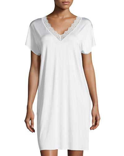 Capri Lace-Trim Short-Sleeve Gown, Off White