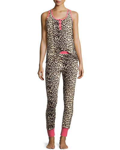 Wild Thing Sleeveless Henley Pajama Set, Coral/Black