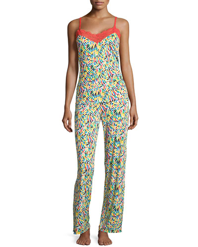 Fleur du Capri Lace Trim Pajama Set, Red/Multi