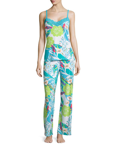 Fleur Lace-Trim Pajama Set, Blue/Multi