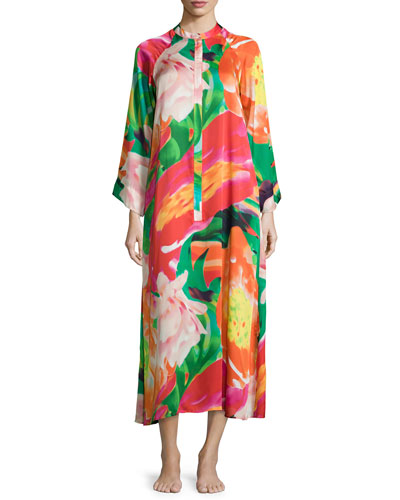 Garbo Printed Zip Caftan, Multi