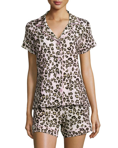 Call Of The Wild Printed Shorty Pajama Set, Pink Leopard