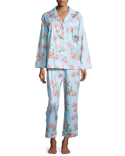 Rose-Print Classic Sateen Pajama Set, Blue Vintage Rose, Women