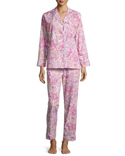 Paisley-Print Classic Pajama Set, Pink, Women