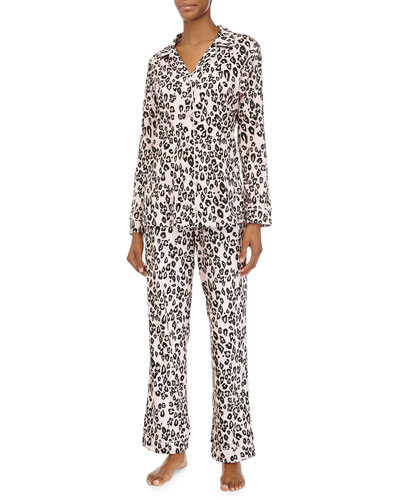 Classic Long-Sleeve Pajama Set, Pink Leopard, Women