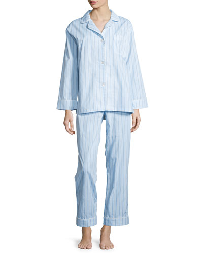 Striped Classic Poplin Pajama Set, Turquoise, Women