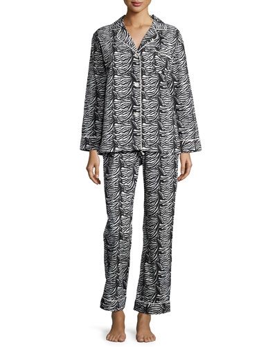 Printed Classic Pajama Set, Zebra, Women