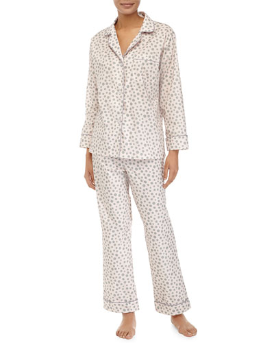 Classic Long-Sleeve Polka-Dot Pajama Set, Pink/Gray, Women's