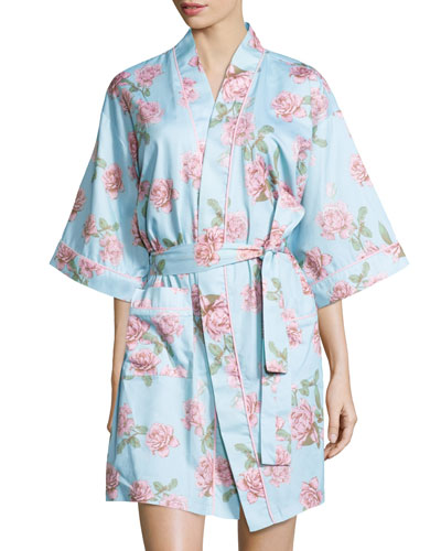 Rose-Print Sateen Kimono Robe, Blue Vintage Rose