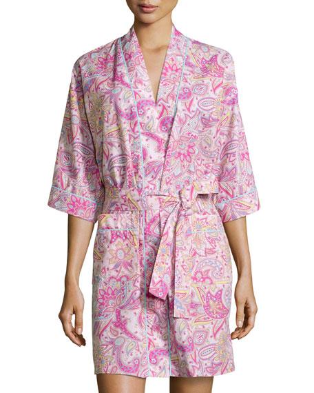 Bedhead Paisley-Print Poplin Kimono Robe, Pink