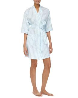 Pinstripe Kimono Short Robe, Turquoise