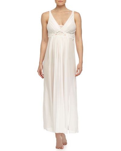 Elena Lace-Trimmed Long Gown, Ivory