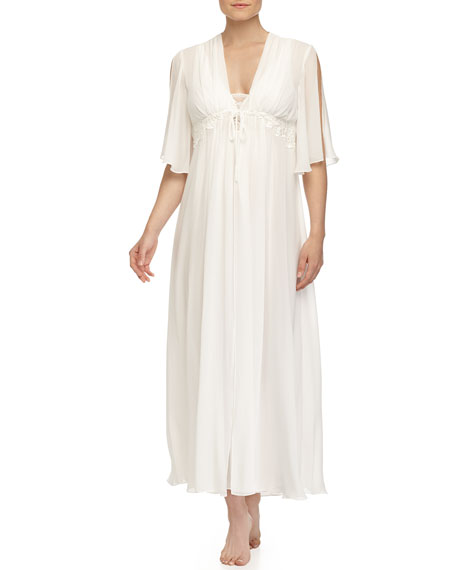 Elena Embroidered Lace Long Robe, Ivory