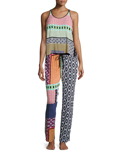 Patch Isles Sleeveless Pajama Set, Multicolor
