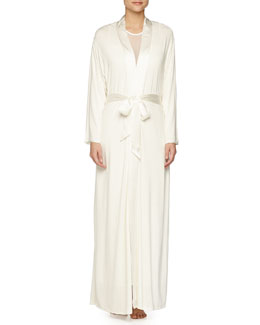Ever After Silk-Trimmed Long Robe, Ivory