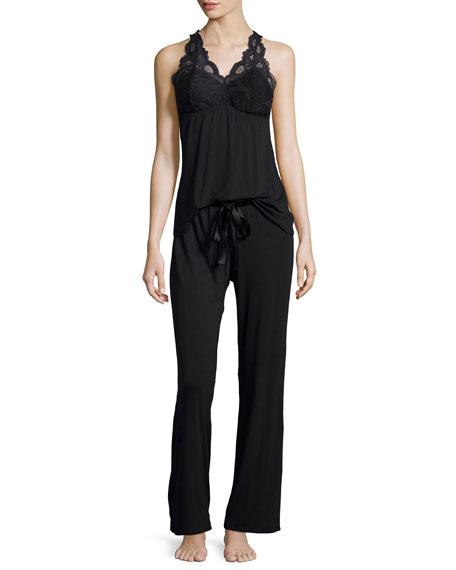 Fleur't Belle Epoque Lace-Inset Pajama Set, Black