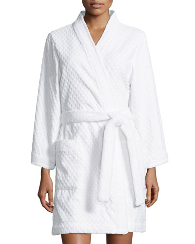 Spa Retreat Embossed Terry Short Robe, White
