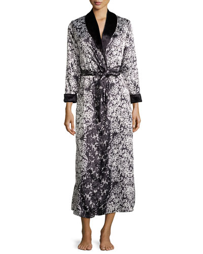 Imperial Lace Printed Charmeuse Robe, Black/Multi