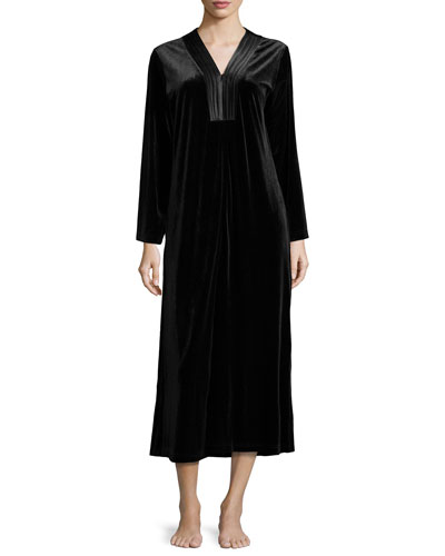Evening Velvet Long-Sleeve Caftan, Black