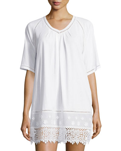 Cotton Cluny Lace-Trim Sleepshirt, White