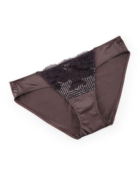 Natori Blossom Bikini Briefs, Gunmetal