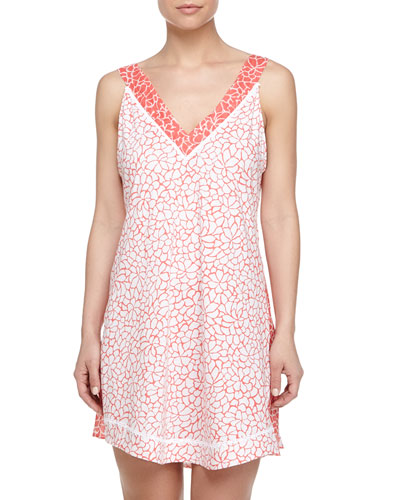 Mosaic Petals-Print Cotton Chemise, Orange