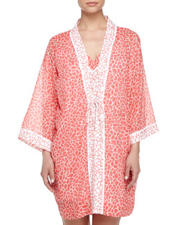 Mosaic Petals-Print Cotton Short Robe, Orange