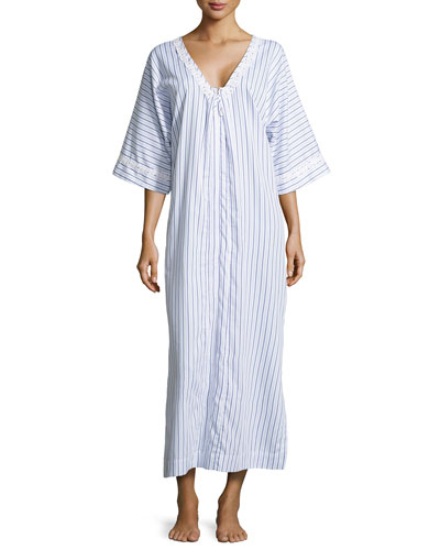 Luxe Turkish Striped Caftan, Blue