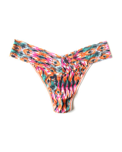 Original-Rise Nomad Printed Lace Thong, Multicolor