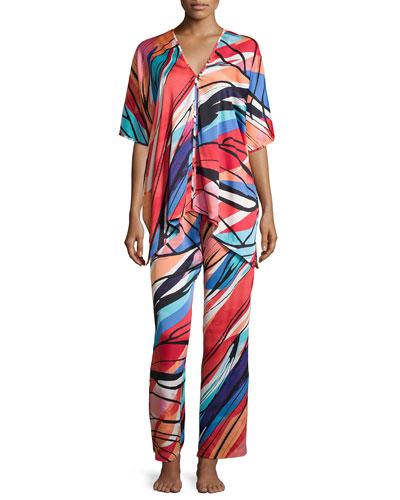 Fiji Printed Two-Piece Tunic Pajama Set, Multi