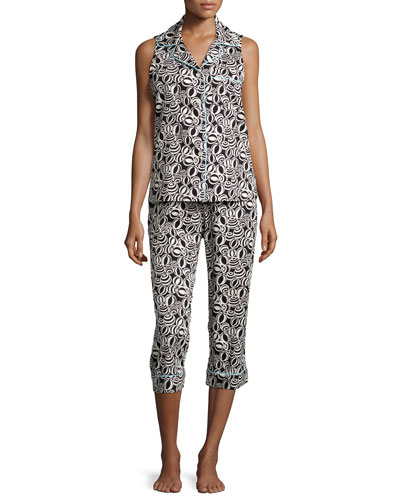 Cropped Sleeveless Pajama Set, Black/White